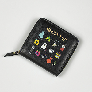 Ghostpop zipper wallet S Black 1017