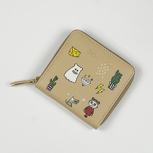 Ghostpop zipper wallet S Beige 1017