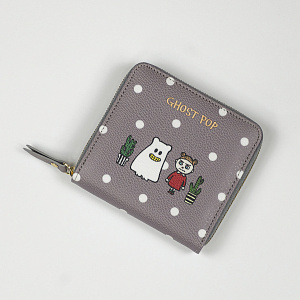 Ghostpop zipper wallet S Gray 1017