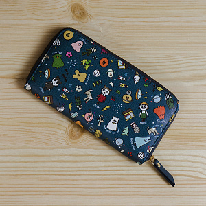 Ghostpop zipper wallet M Navy 1017